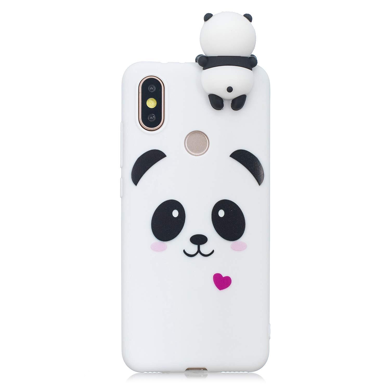 HopMore Coque Xiaomi Mi A1 / 5X Silicone Souple 3D Design Motif Panda Animal Drôle Mignonne Etui Xiaomi A1 / 5X Étui Antichoc Ultra Mince Fine Gel Bumper Slim Case Housse Protection pour Fille Femme - Panda Blanc
