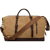 S-ZONE Oversized Canvas Genuine Leather Trim Travel Tote Duffel Shoulder Weekend Bag Weekender Overnight Carryon Hand Bag (khaki)