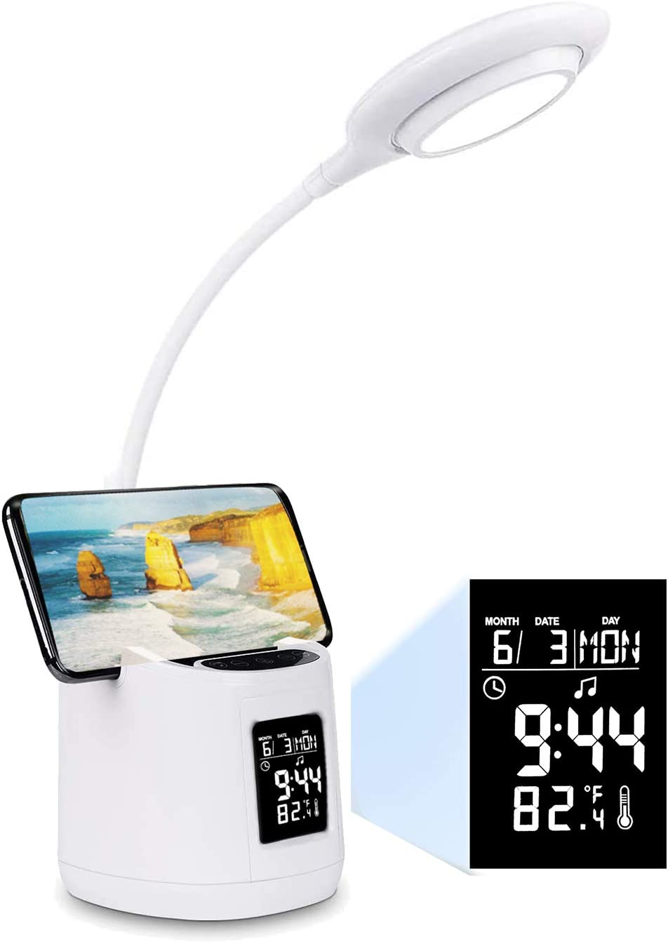 Hokone Study LED Desk Lamp with Screen Calendar Temperature, Kids Dimmable LED Table Lamp with Pen&Phone Holder Clock, Flexible Gooseneck Desk Reading Light for Students, 2000mAh Battery Operated