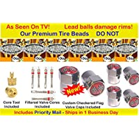 Checkered Flag Tire balance Beads, no lead and no damage tire beads, 6- 10oz bags of tire balancing beads with filtered valve cores, red caps,1 gold core tool w/ our white smooth balancing beads