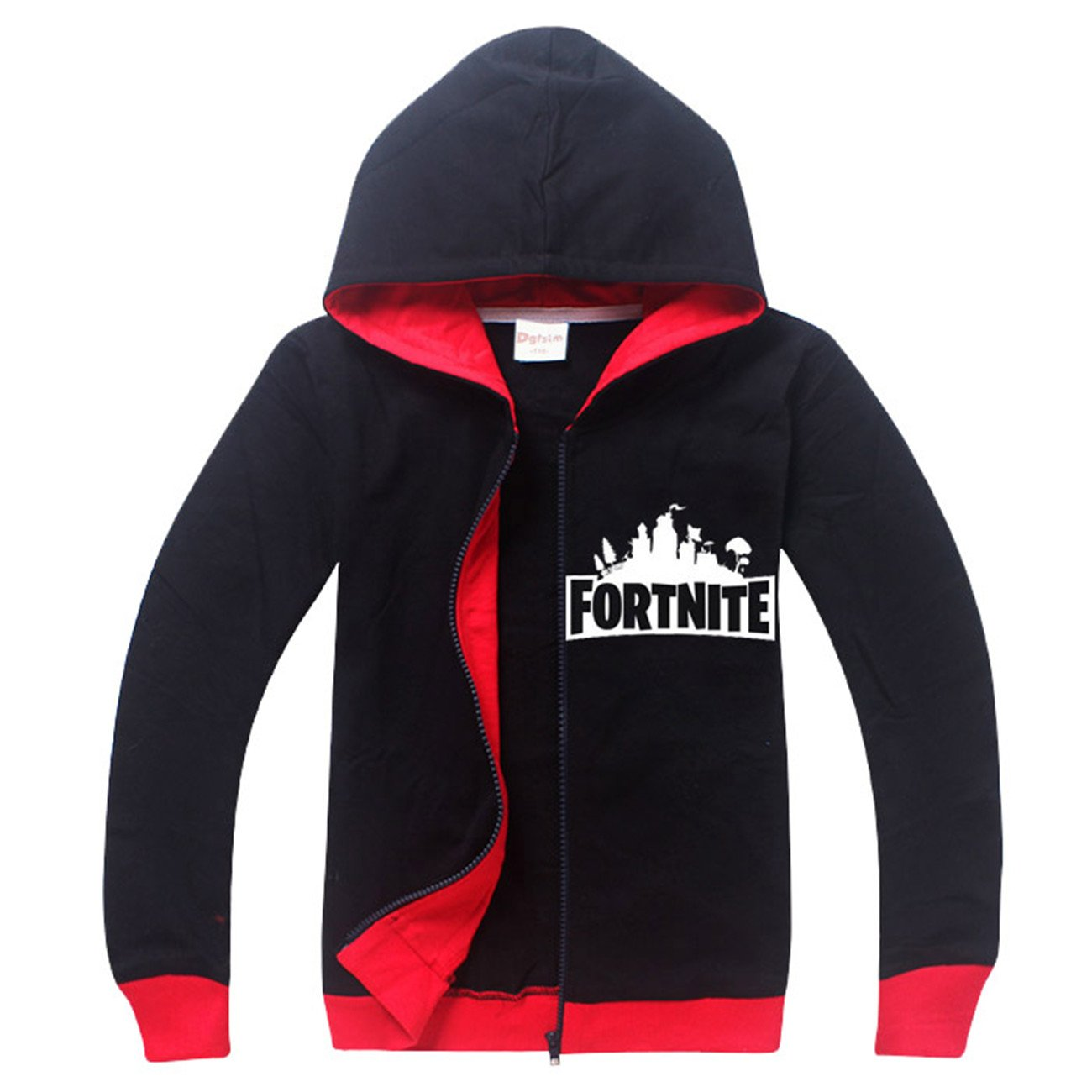 SERAPHY Fortnite Hoodies PS4 Gaming Unisex Top Sweaters Jumper Long Sleeve Jackets with Zippers for Kids-Black-130