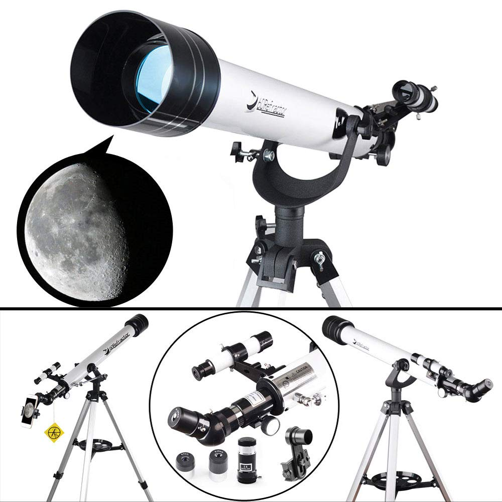 Telescope for Beginners and Kids-60mm Apeture 700mm Focus Length Telescope - Refractor & Travel Scope to Observe Moon and Planet with Tripod and 10mm Eyepiece Smartphone Mount by DoubleSun