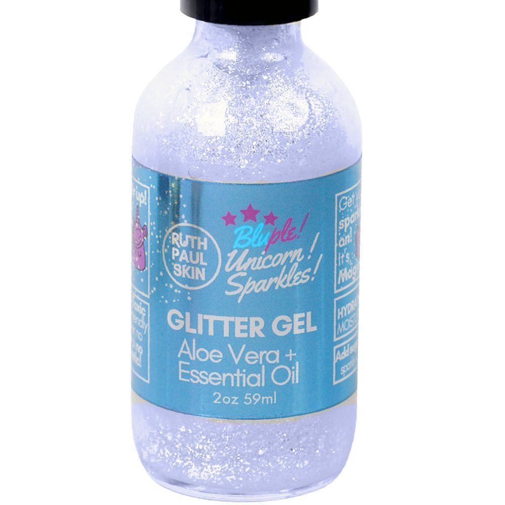 Unicorn Sparkles Eco Glitter Gel. Make up For Face Eyes Lips Body Shimmer, Hair. Also Glitter Face Mask. Moisturizing Aloe Vera Gel & Peppermint Essential Oil. Holographic Blue Sparkles 59ml