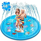 Splash Pad for Kids, Inflatable Sprinkler Pad Splash Play Mat Summer Outdoor Garden Sprinkler Water Spray Pad Water Toys 170cm/69 Blue