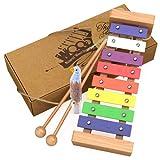 aGreatLife® Xylophone en bois pour les enfants : Le meilleur pour votre petit musicien – Il pourra créer des sons magiques grâce à ses petites mains ; Un instrument de percussion sûr pour les enfants avec touches métalliques multicolores et deux baguettes en bois