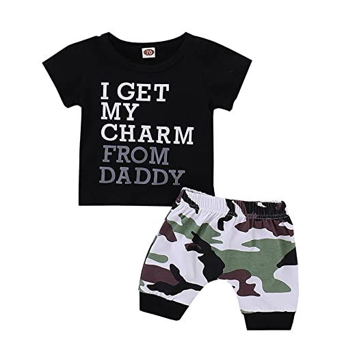 28230d5724ff 2PCs Baby Boy Sayings I GET My Charm from Daddy T Shirt Top Camouflage  Pants Tracksuit