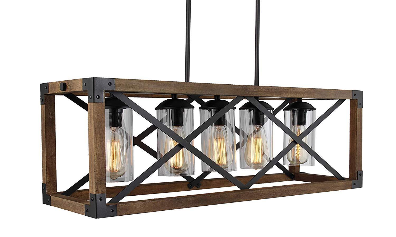Industrial Cross Framed Box Island Chandelier Wood Iron Metal Rectangular Linear Shade Farmhouse Pendant Lamp (Length 32 Inch)