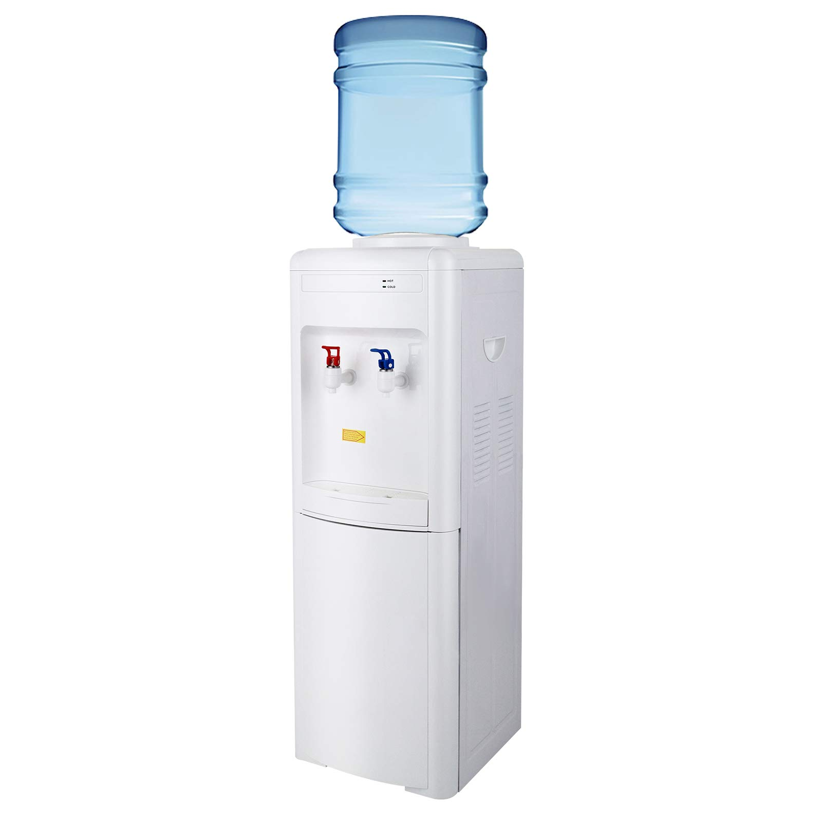 KUPPET Water Cooler Dispenser Top Loading Freestanding Water Dispenser with Storage Cabinet, Two Temperature Settings-Hot(85℃-95℃), Normal Temperature(10-15℃), WHITE