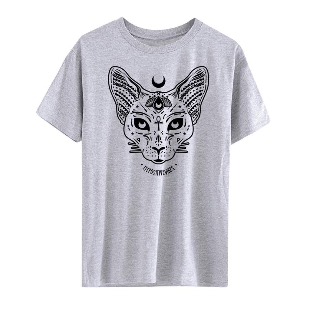 Duseedik Women's Men Summer Tops Casual Short Sleeve Moon Cat Print Punk Gothic Top Blouse T-Shirt Shirt Tunic Gray