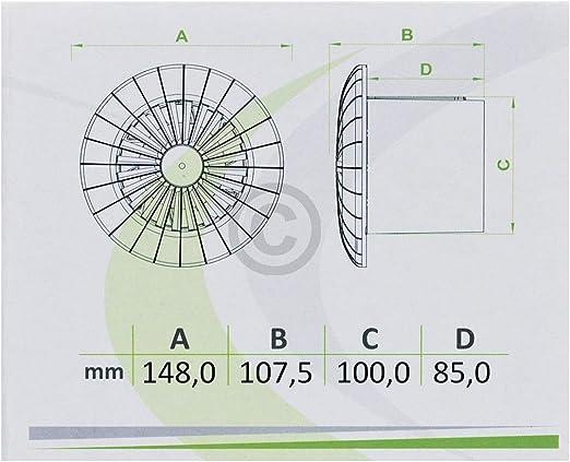 Ventilateur logement Ventilateur 100er Blanc Roulement à billes plafond salle de bains toilettes Arid 100bb