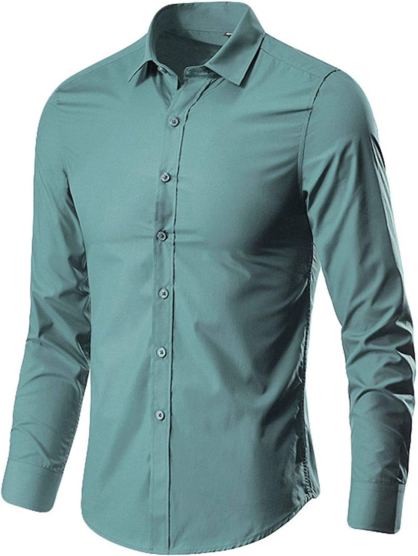 Wofupowga Mens Long Sleeve Vogue Printed Turn Down Button Up Shirts