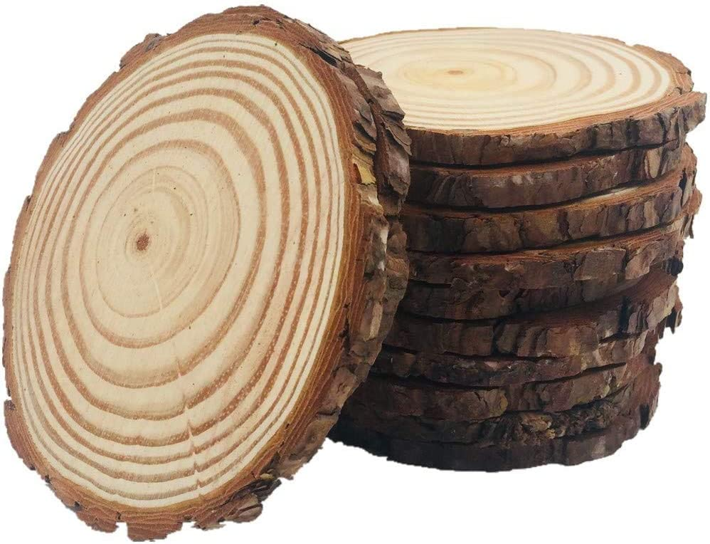 20 Pcs 3.5-4 inch Natural Wood Ornament Slices with Holes