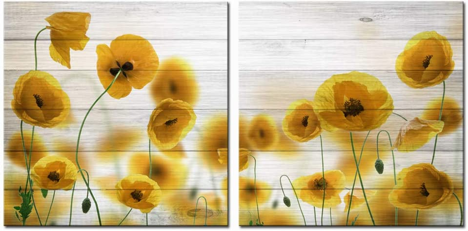 LevvArts 2 Piece Wall Art Yellow Poppy Flower on Wood Background Painting Canvas Artwork Floral Picture Still Life Canvas for Home Kitchen Bedroom Decor Ready to Hang 24x24x2