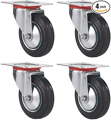 "Lot of 4 Swivel Caster 3/"" Wheels Rubber Base with Top Plate /& Bearing Heavy Duty"