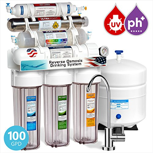 Express Water Alkaline Ultraviolet Reverse Osmosis Filtration System – 11 Stage RO UV Mineralizing Alkaline Purifier with Faucet and Tank – Mineral, pH + – 100 GDP with Pressure Gauge & Clear Housing ()