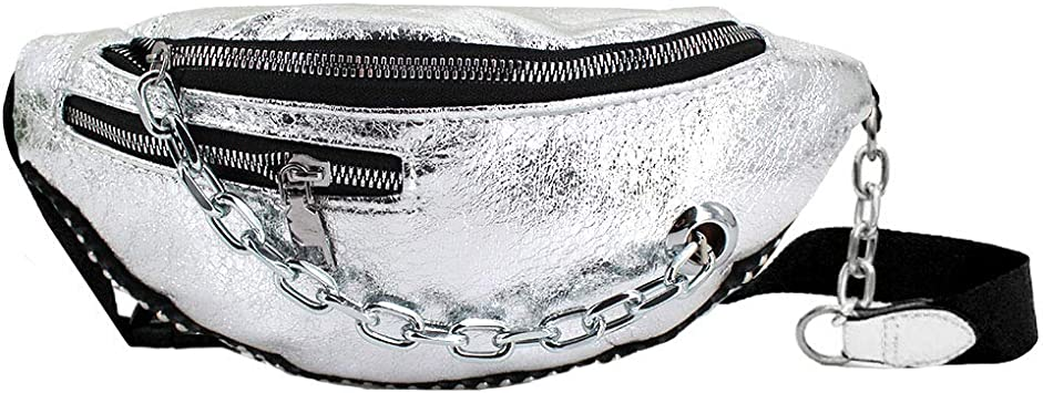 mega Women PU Leather Waist Bum Bag Holiday Fanny Pack for Rave Festival Silver: Amazon.es: Deportes y aire libre