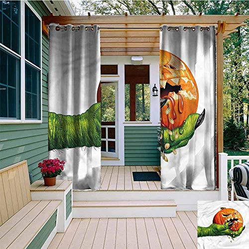 Beihai1Sun Grommet Curtain,Pumpkin Scary Halloween Monster,Energy Efficient, Room Darkening,W108x96L]()