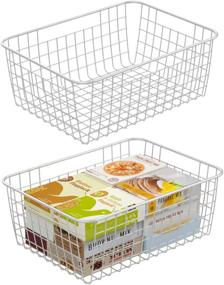 Wire Basket, Cambond 2 Pack Wire Baskets for Storage Durable Metal Basket Pantry Organizer Storage Bin Baskets with Handles for Kitchen Cabinets, Pantry, Bathroom, Countertop, Closets (White, Medium)