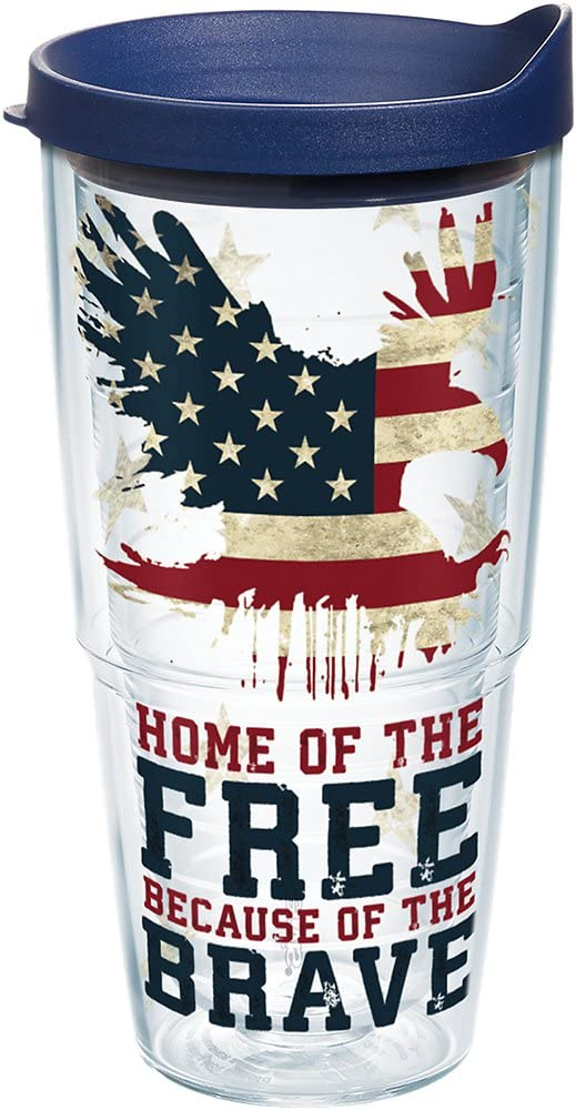 Tervis 1212147 Home of the Free Because of the Brave Tumbler with Wrap and Navy Lid 24oz, Clear