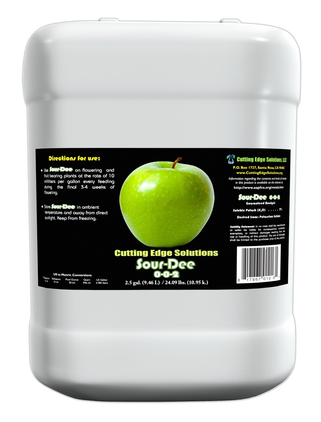 Cutting Edge Solutions Sour-Dee:3303 Sour-Dee Growing Additive, 2.5-Gallon