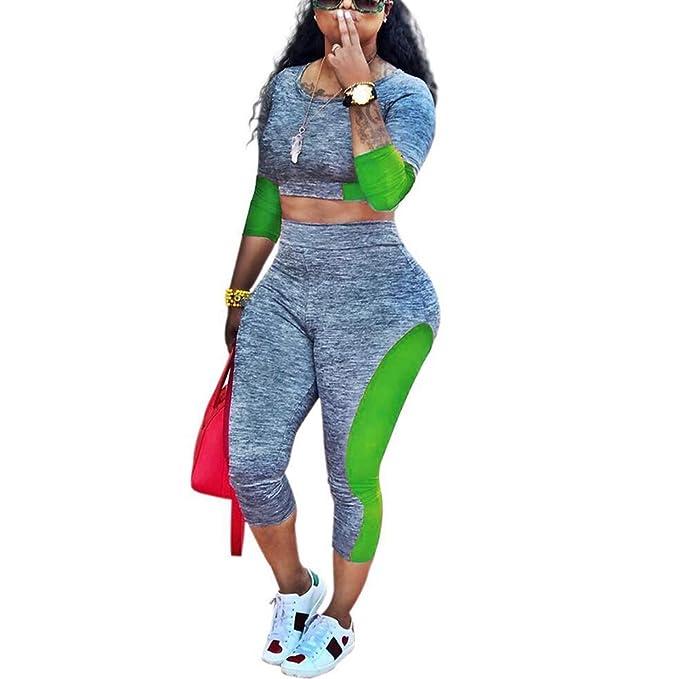 Amazon.com: Chándal sexy para mujer, 2 piezas, traje de ...