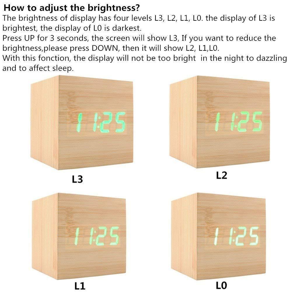 Reloj Despertador Digital XAGOO Despertador LED Cubo , Despertador de Madera con Activación por Sonido, 3 Alarmas Programables y con Indicador de ...