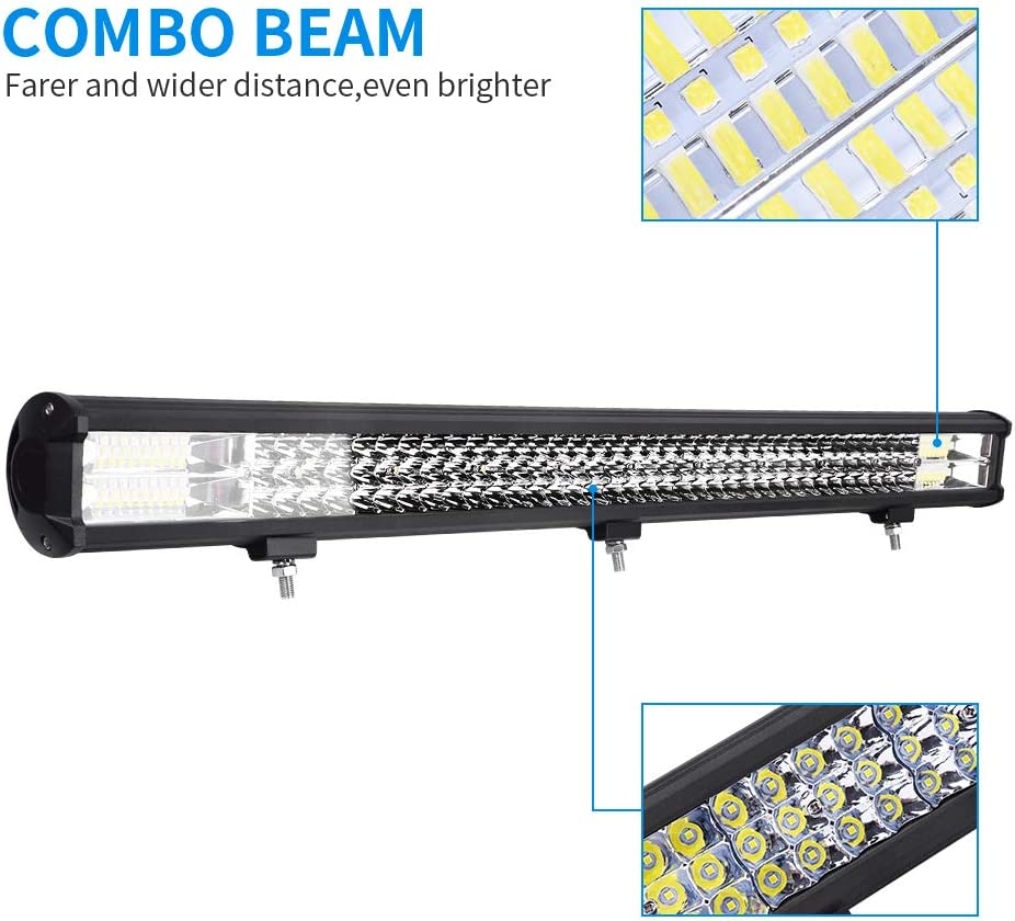 288W LED Light Bar for Jeep Sararoom 288W LED Headlight 12 Inch Off Road Flood Beam Driving Fog Lamp for Tractor, Rzr, ATV, UTV, SUV, Truck, Boat, Motorcycle