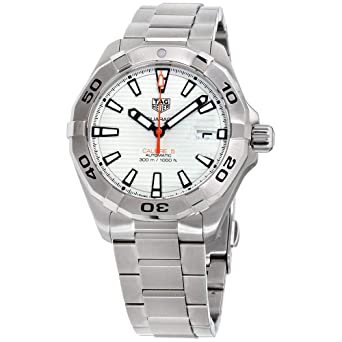 17ed470ad27c Image Unavailable. Image not available for. Color  Tag Heuer Aquaracer  White Dial Stainless Steel Men s Watch ...