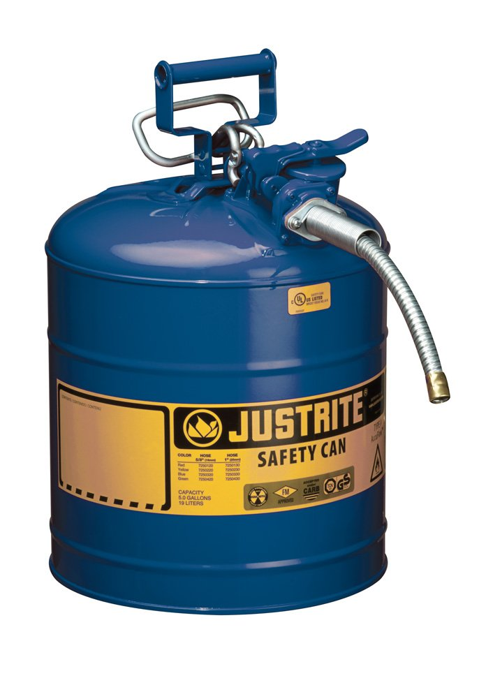 Justrite AccuFlow 7250320 Type II Galvanized Steel Safety Can with 5/8'' Flexible Spout, 5 Gallon Capacity, Blue