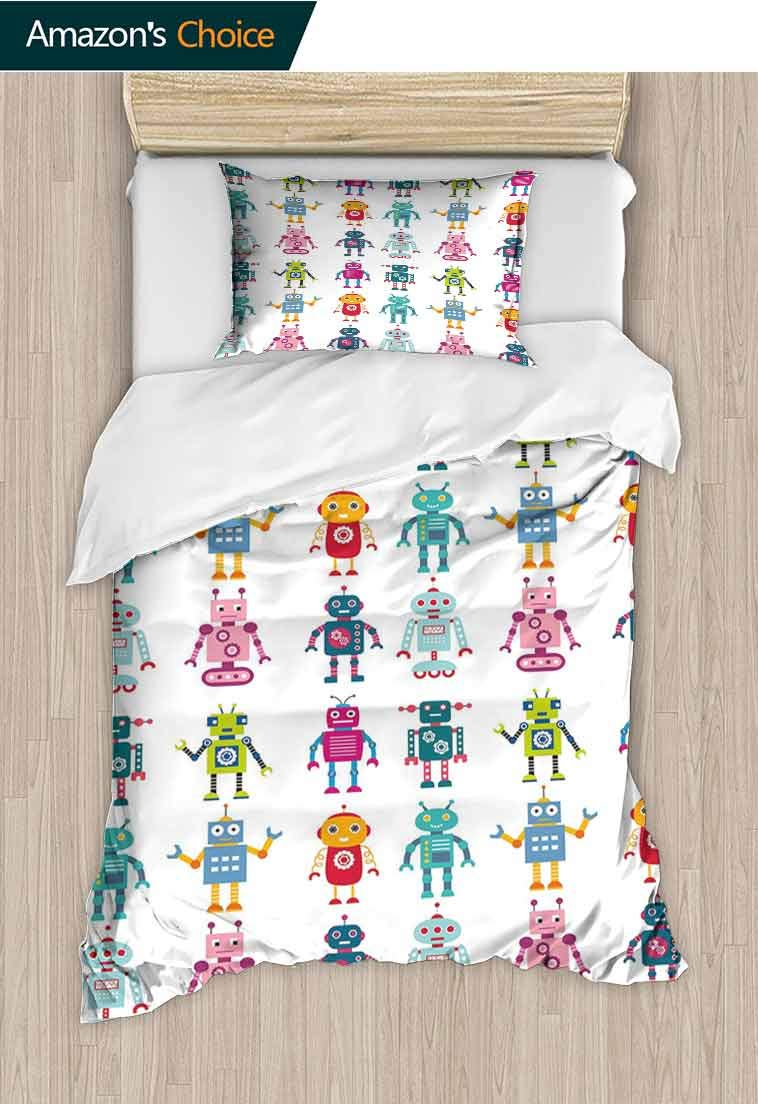 Nursery Printed Quilt Cover and Pillowcase Set, Colorful Cartoon Set of Robot Figures Futuristic Funny Mascots Friendly Androids, 2 Piece Bedding Quilt Coverlets - 100% Cotton Bed Quilts Coverlet