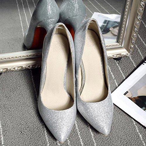 JIANXIN Die Frauentürme Sind Super High Heels Mit Flachen Einzelnen Einzelnen Einzelnen Schuhen Und Sexy Stilettos Im Frühling Und Sommer. (Farbe   Silber größe   EU 38 US 7 UK 5 JP 24.5cm) 6fe3de