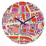 Deny Designs Holli Zollinger,  Paris Map Pink , Round Clock, Round, 12