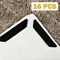 Rug Grippers for Hardwood Floors Carpet with Renewable Grip Tape,16 Pcs Anti Curling Rug Grippers Keep Your Rug in Place & Makes Corners Flat,Ideal Non Slip Rug Stopper(Black).