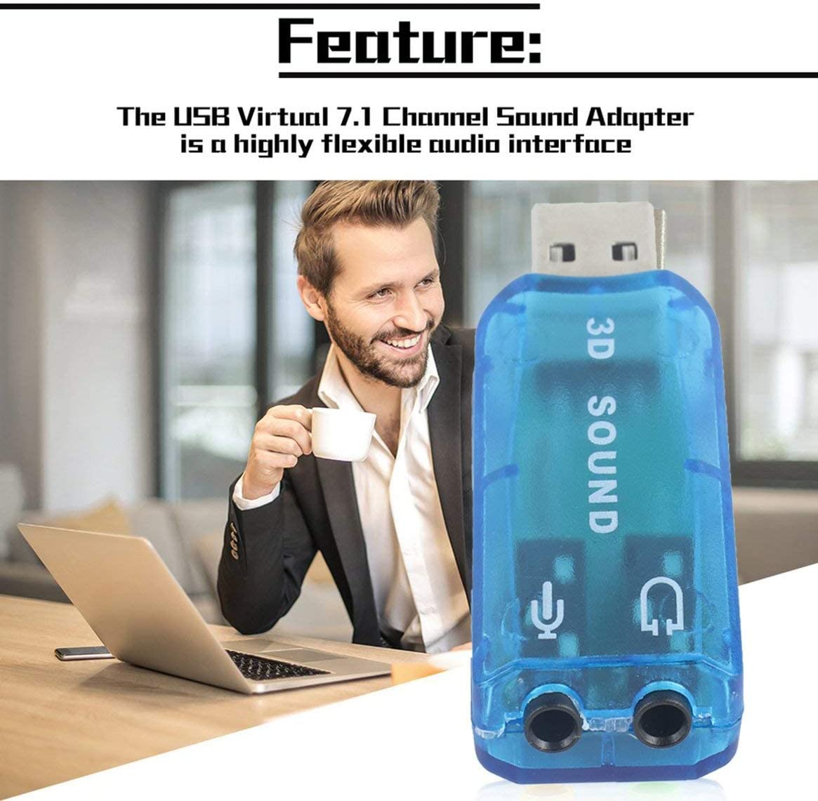Portable Compact 3D Audio Card USB 1.1 Mic//Speaker Adapter 7.1 CH Surround Sound for PC Computer Laptop
