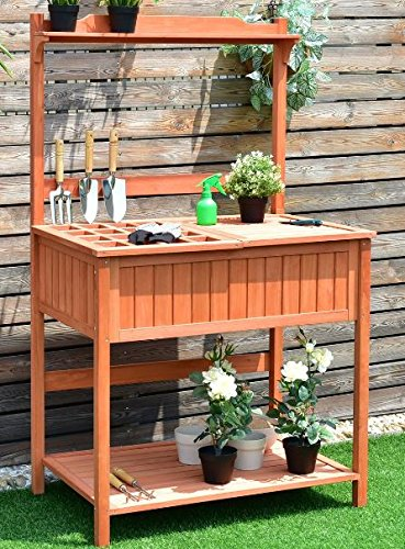 K&A Company Potting Table Bench Planting Outdoor Garden Station Work Wood Patio Storage Stand Workstation Gardening Wooden Planter Shelves Shelf Greenhouse Deck by K&A Company