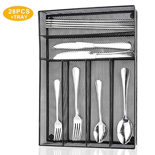 Silverware Set,WOAIWO-Q 28 PCS Stainless Steel Flatware Set for 4 People, Cutlery With Wire Mesh Holder Storage Trays Mirror Polish,Dishwasher Safe (Silver)