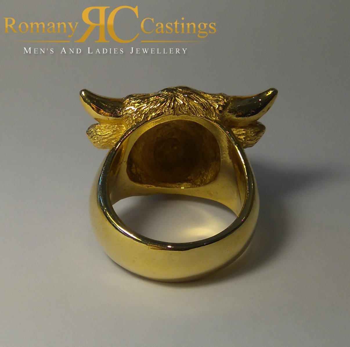 4298d0b07cc06 Heavy Men's Highly Polished Bulls Head Jewellers Bronze Ring 15g 9ct ...