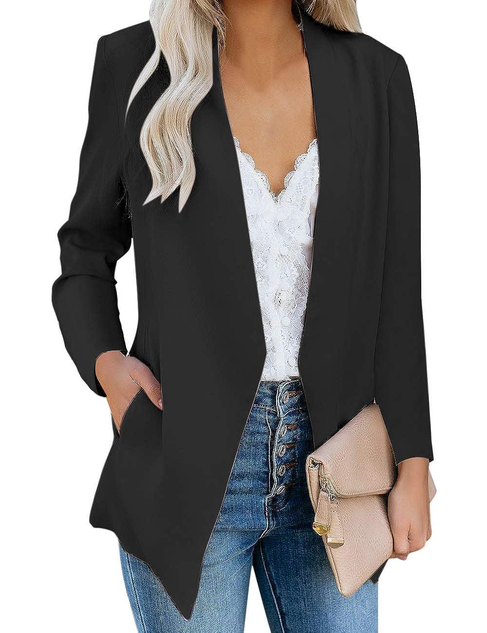 Vetinee Womens Open Front Pocket Blazer Long Sleeve Work Office Cardigan Jacket