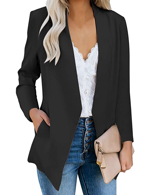 Vetinee Women's Black Casual Open Front Pocket Blazer Long Sleeve Work Office Cardigan Jacket Coat Size Medium best women's blazers