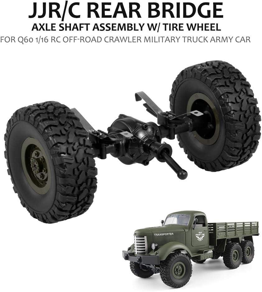 Goolsky- JJR / C Puente Trasero Eje Eje ensamblado con Rueda de neumático para Q60 1/16 RC Vehículo Militar del camión de Oruga Fuera de Carretera