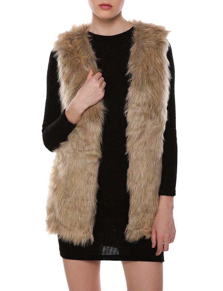 Naggoo Womens Faux Fur Waistcoat Vest Gilet Outwear Coat Mid-Long Jacket (S, Brown)