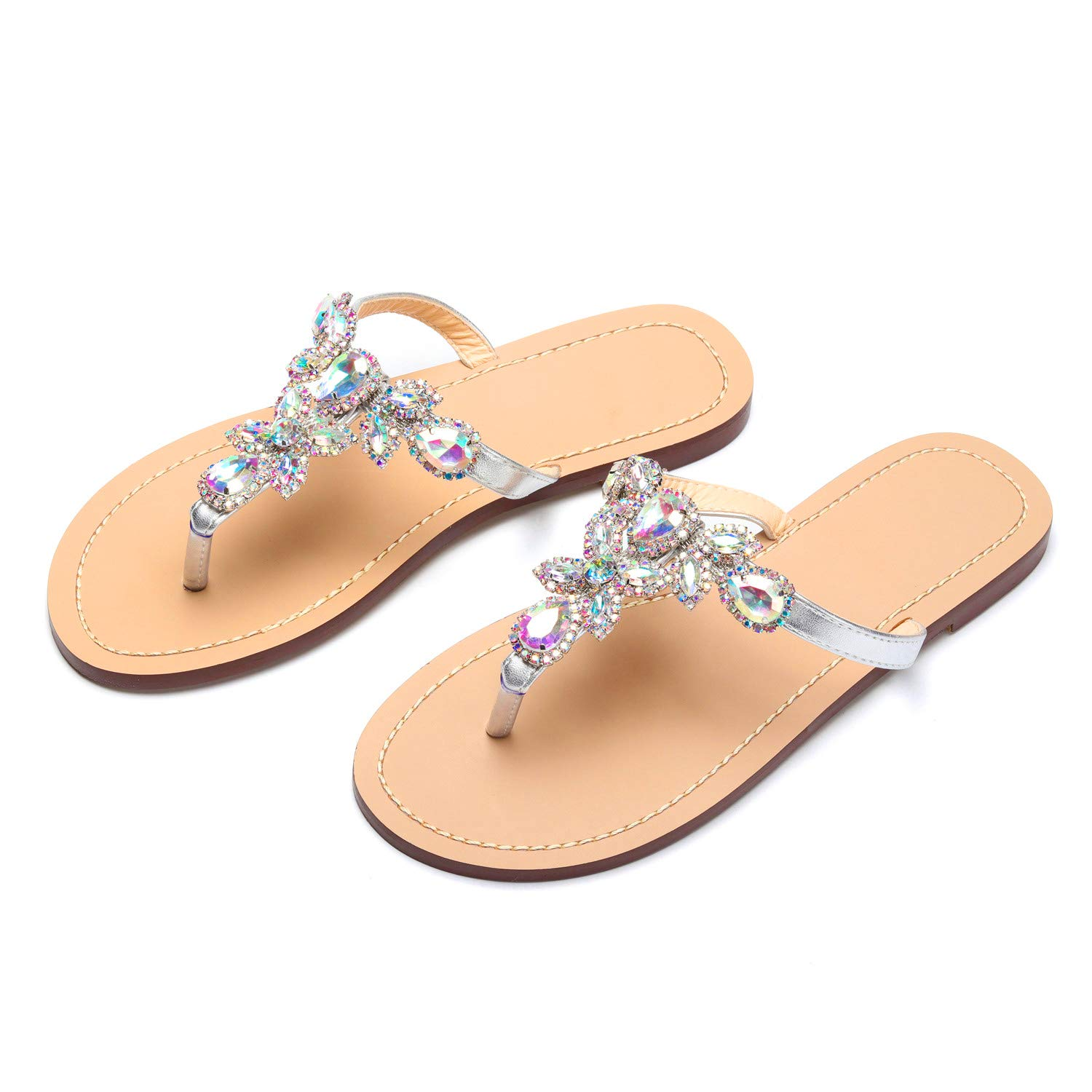 d2a3d2365f4b AZMODO Women s Silver Hand Crafted Flip Flop Rhinestones Sandals Y22  Amazon .co.uk  Shoes   Bags