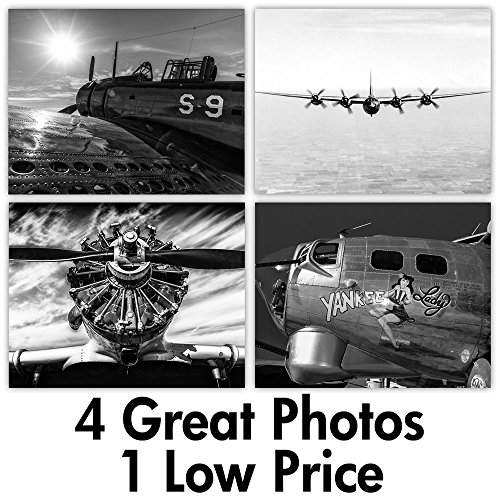 War Planes - Set of Four 11x14 Unframed Prints - Great Gift for History (Air Force Aircraft Photos)