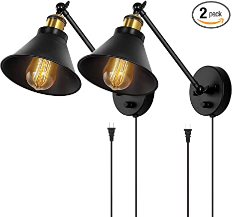 HAITRAL Sconces Wall Lighting-Dimmable Swing Arm Wall Lamps with On/Off Switch & Plug in Wall Mounted Lamps, Wall Sconces Set of 2 for Bedroom,Bedside,Living Room,Dorm- Black&Brass (Without Bulbs)