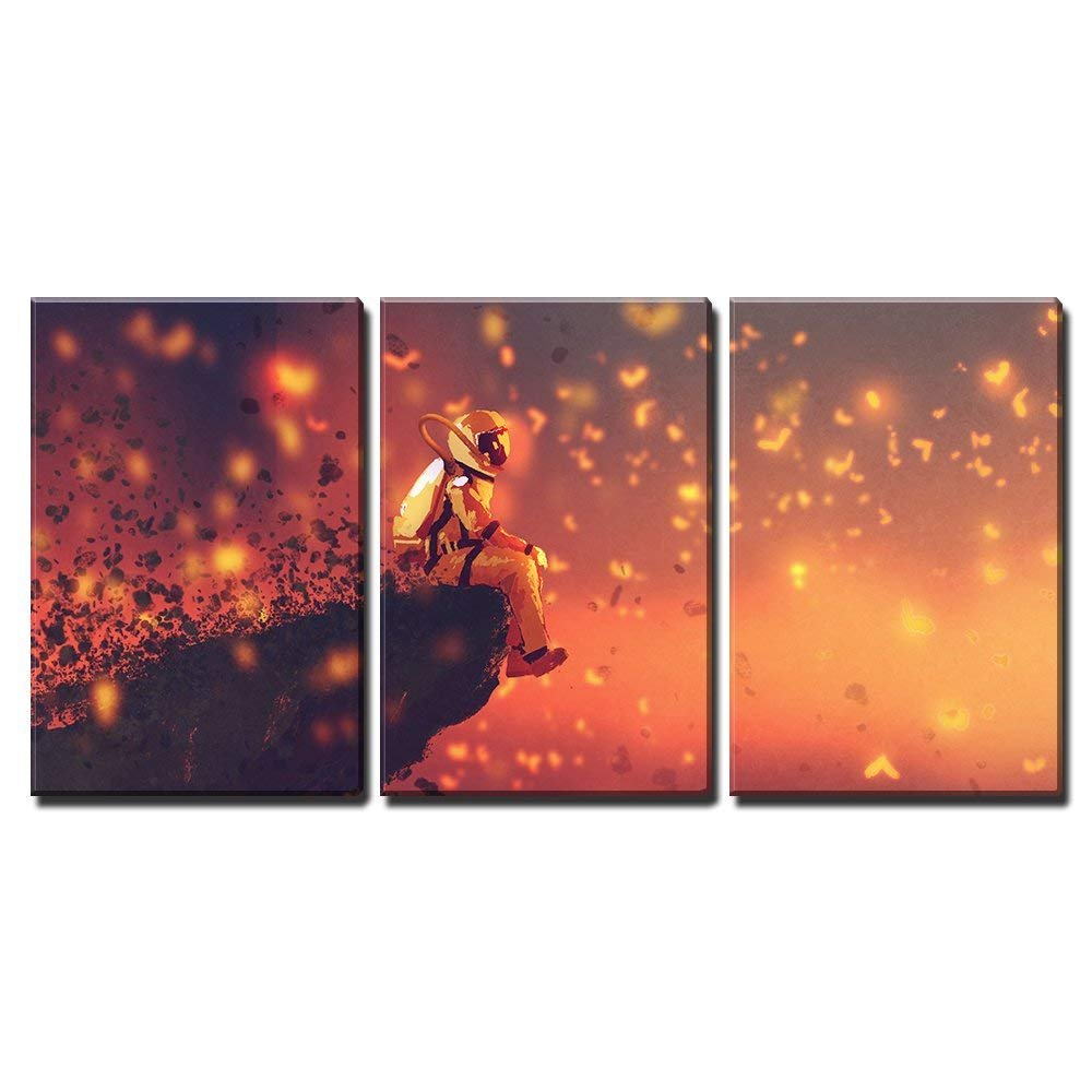 3 Piece Canvas Wall Art - Illustration - Astronaut Sitting on Cliff'S Edge and Looking to Fireflies - Modern Home Art Stretched and Framed Ready to Hang - 16