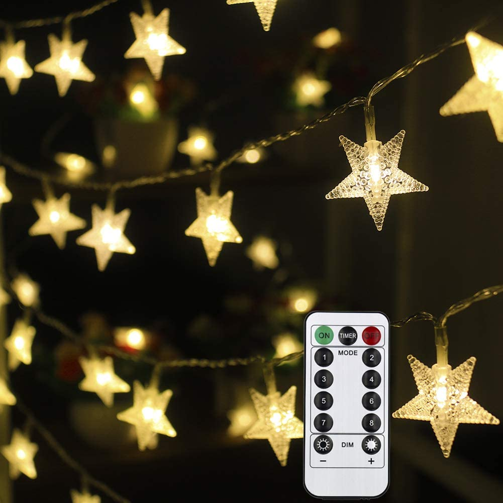 Mankinlu Star String Lights 50 LED 25 ft Waterproof Christmas Fairy Lights 8 Modes Star Twinkle Fairy Lights Battery Operated with Remote Control for Party Bedroom Kids Tent Christmas Decor Warm White