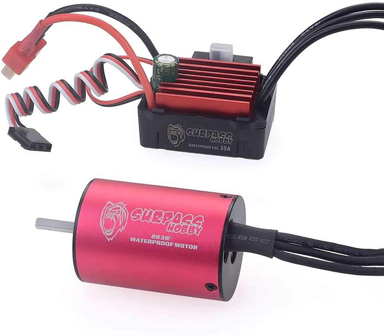 9imod Surpass Hobby 2838 3200KV Brushless Motor 2S 3S Waterproof Combo 35 ESC Power System for 1//14 1//16 RC Drift Racing Car Truck