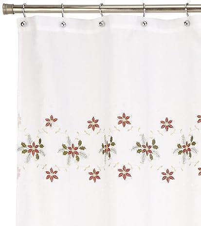 Lorraine Home Fashions Poinsettia Cutwork Shower Curtain 70 By 72 Inch