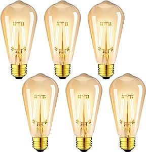 LVWIT Vintage Edison Light Bulb ST21 LED Filament Bulb 8W(60 Watt Equivalent) Dimmable 2500K (Amber Glow) Warm White E26 Medium Base, Amber Glass Cover,6 Pack