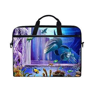 Ahomy 3D Ocean - Bolsa de Tela Multifuncional Impermeable para Ordenador portátil, diseño de delfín, 35,56 cm: Amazon.es: Informática